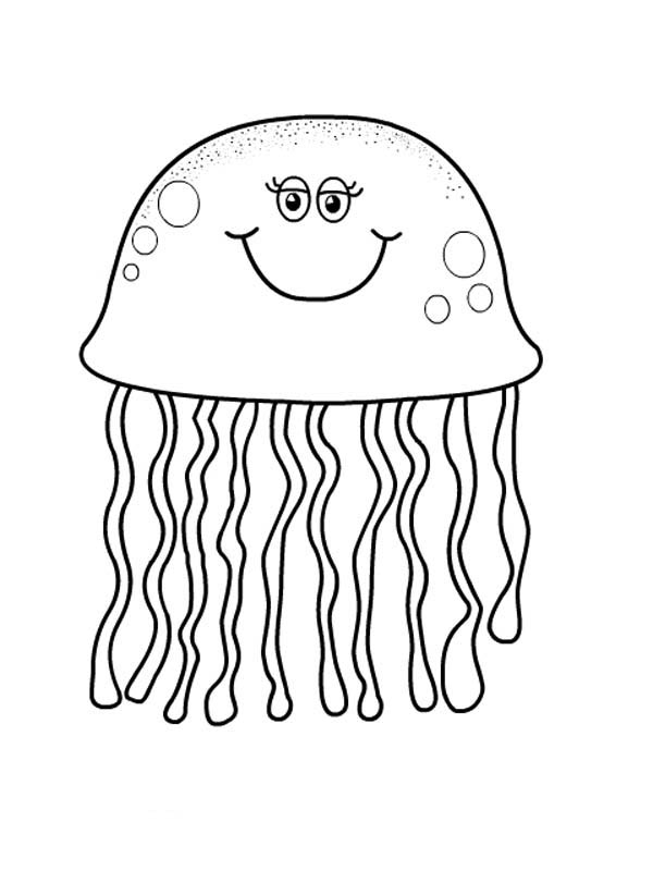 pretty eyes jellyfish coloring page - Download & Print ...