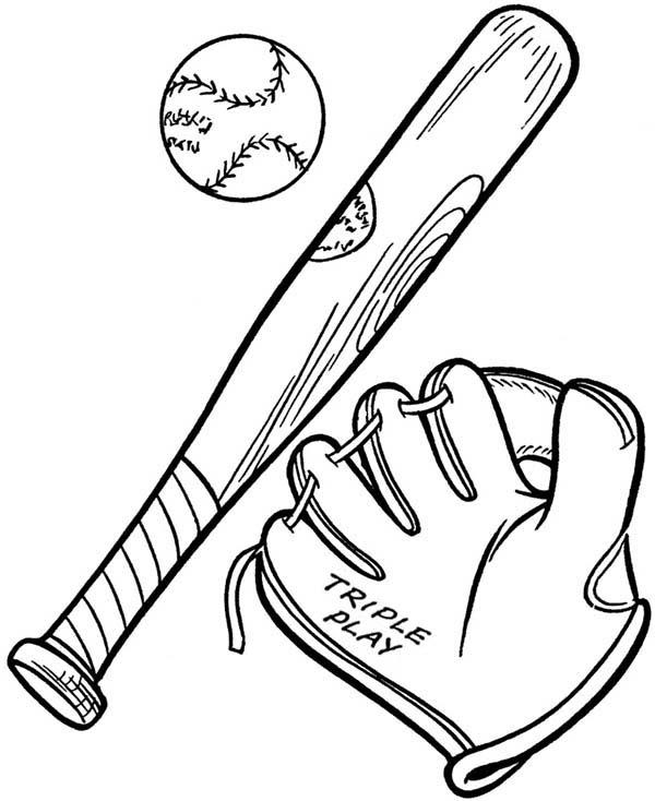 free baseball bat coloring pages   Baseball Glove, A Ball And A Bat Coloring Page - Download ...