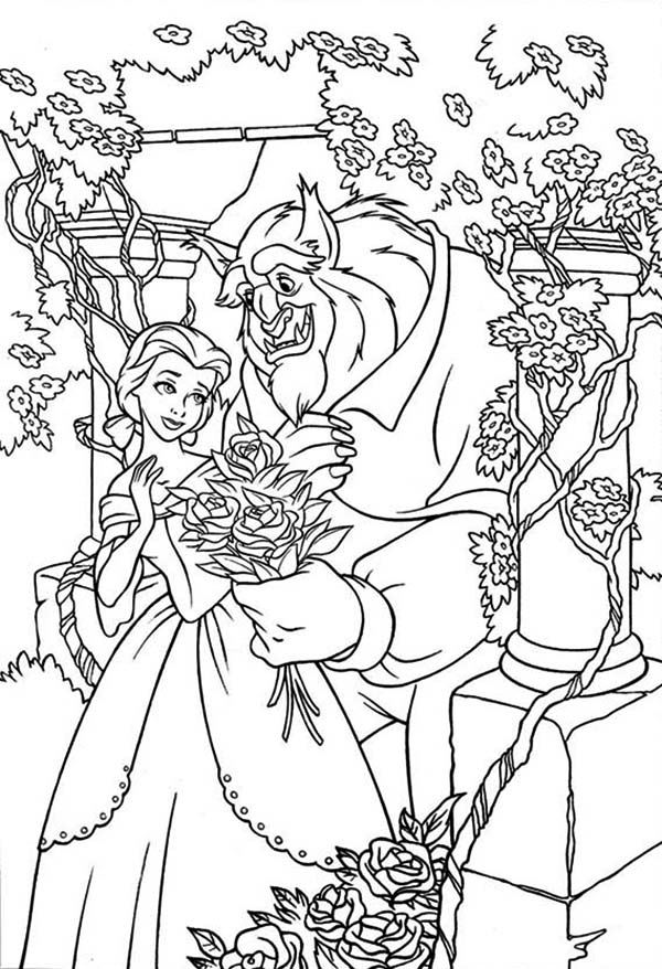 Belle And The Beast In The Rose Garden Coloring Page