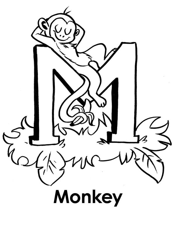 Monkey Sleeps On Letter M Coloring Page Jpg Download