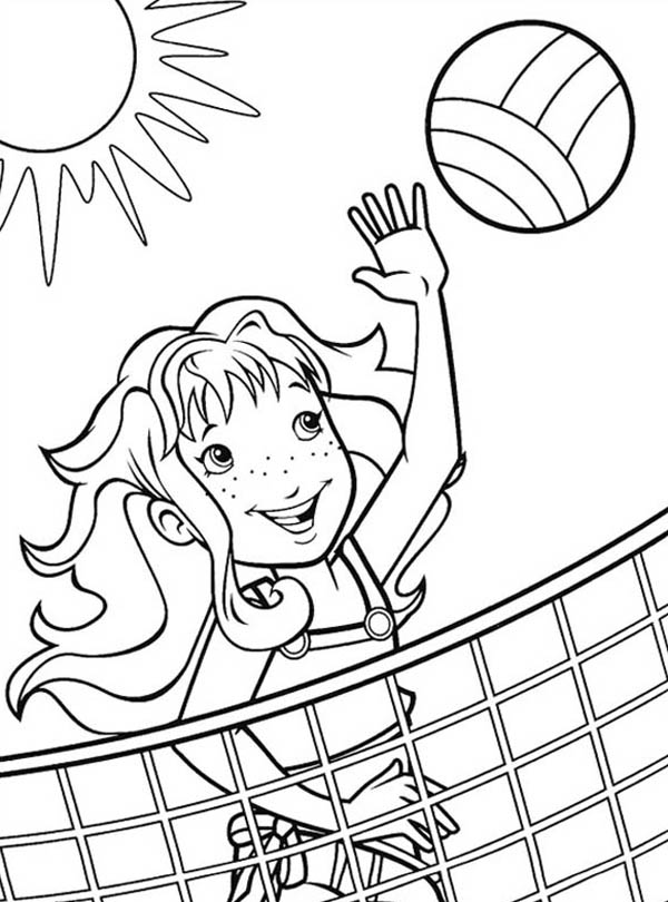 A Girl Blocking The Volleyball Coloring Page Download