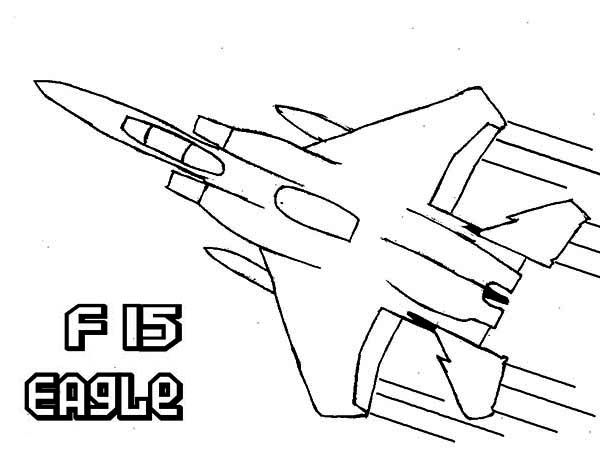 Airplane F15 Eagle Super Jet Fighter Coloring Page