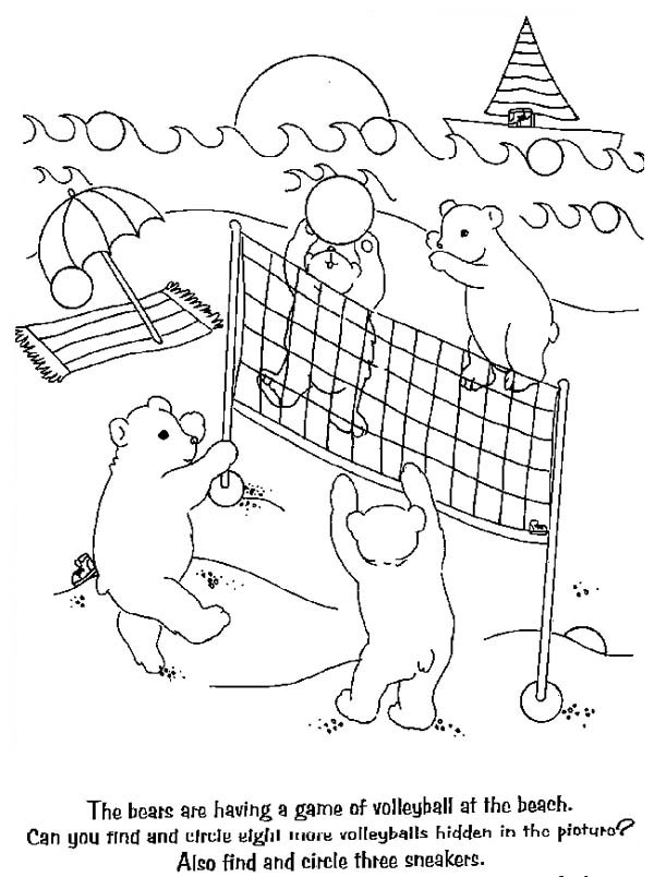 Bears Playing Volleyball Coloring Page - Download & Print ...