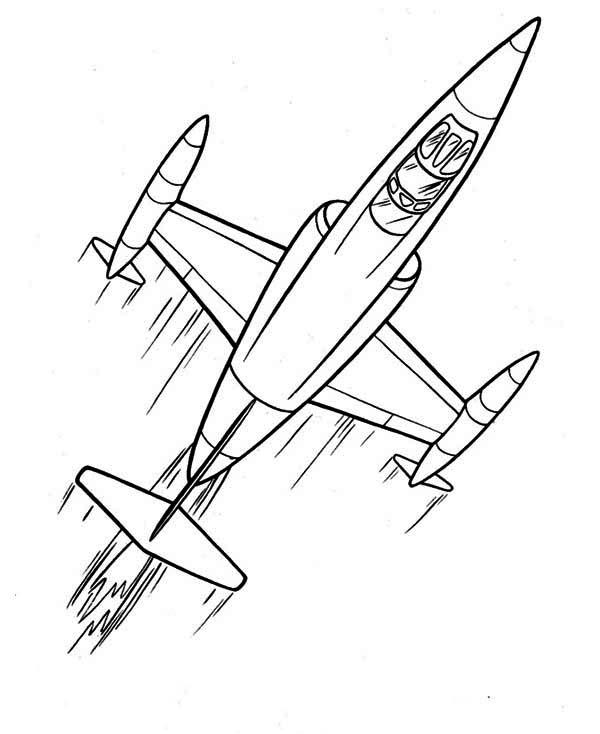cartoon futuristic jet plane coloring page: cartoon ...