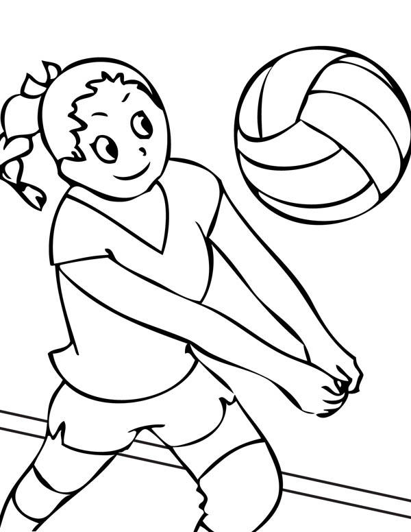 Coloring pages for volleyball ~ Girls Volleyball Team Coloring Page - Download & Print ...