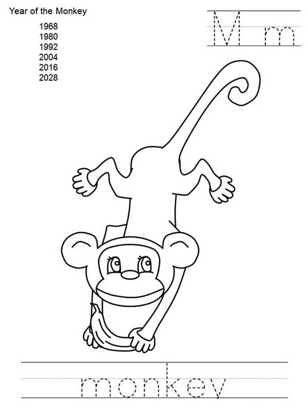 Writing M As Monkey Coloring For Kids Coloring Page