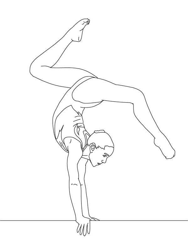 Balance Beam Artistic Gymnastic Coloring Page Download