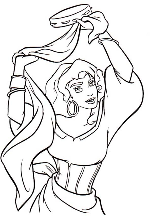 tambourine coloring page - esmeralda dancing with tambourine in the hunchback of