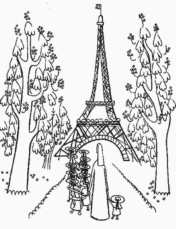 Kindergarden Holiday at Eiffel Tower Coloring Page ...