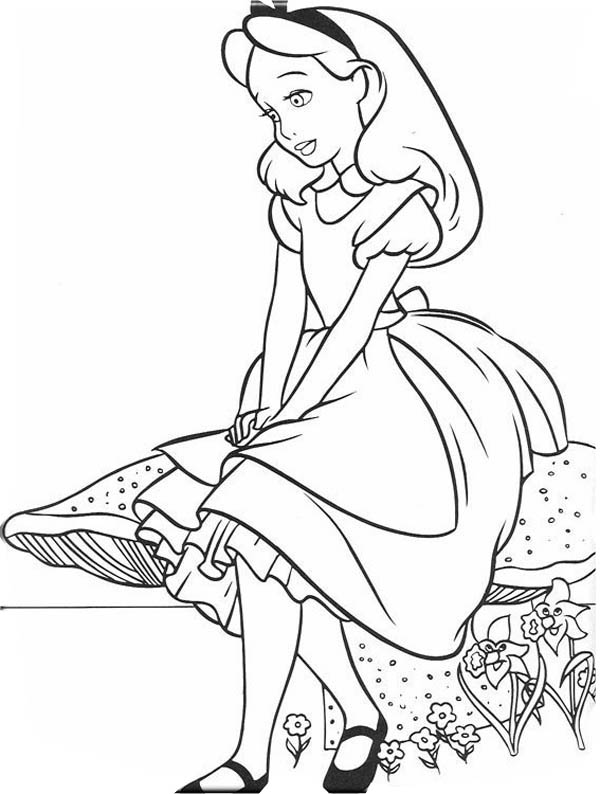 Lovely Alice in Wonderland Coloring Page - Download ...