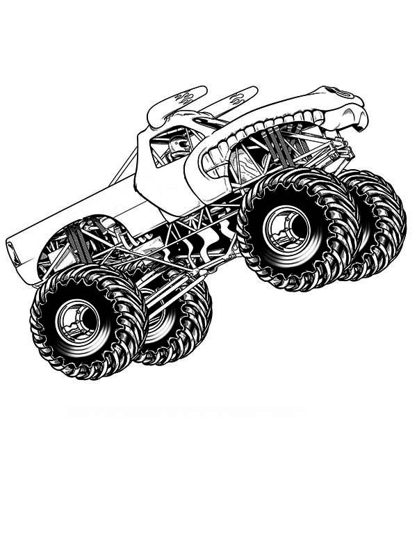 Monster Truck Flying Coloring Page: Monster Truck Flying ...