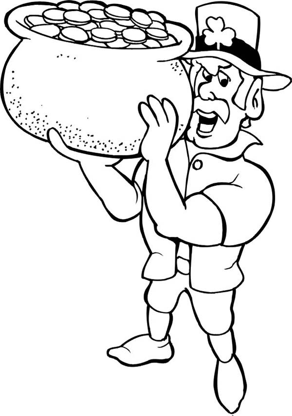 Muscular Leprechaun Holding a Pot of Gold Coloring Page ...