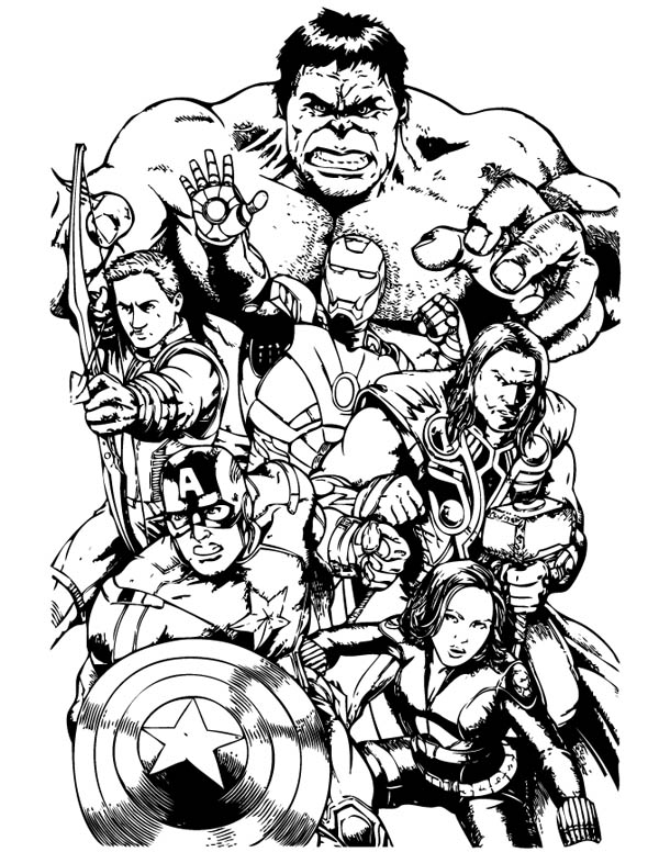 The Avengers Team Assemble Coloring Page - Download ...