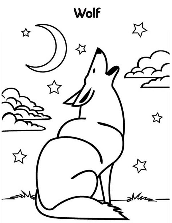 Wolf Howling Coloring Page - Download & Print Online ...