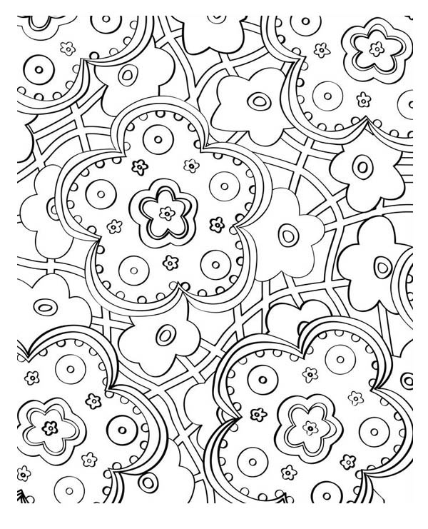 Beautiful Flower Mosaic Coloring Page Download Print