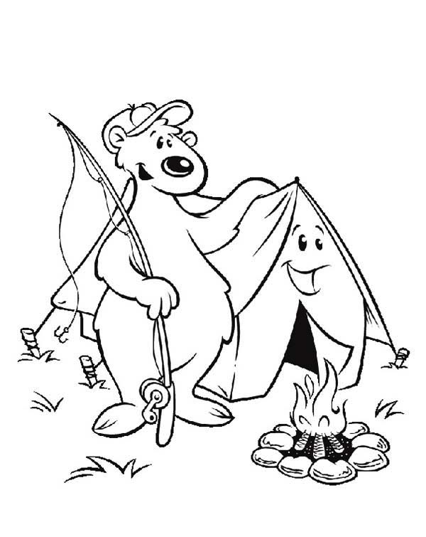 A Fishing Bear And A Tent On Summer Camp Coloring Page ...