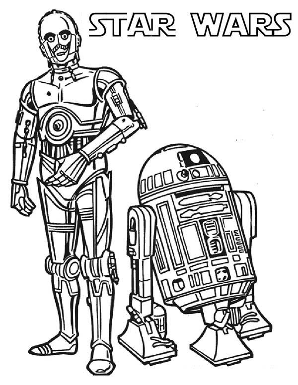 C3PO And R2D2 The Star Wars Droids Coloring Page ...R2d2 And C3po Drawing