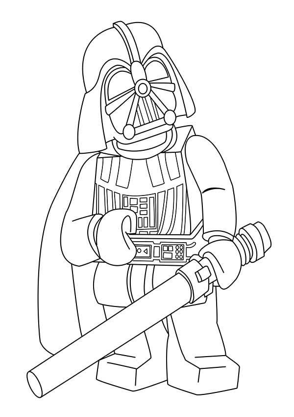 cartoon of darth vader in star wars coloring page