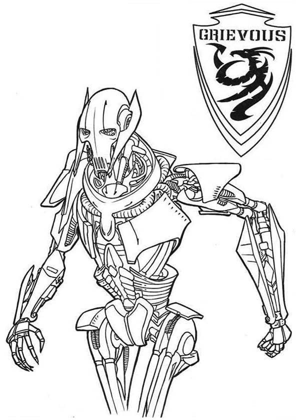 general grievous from wars coloring page