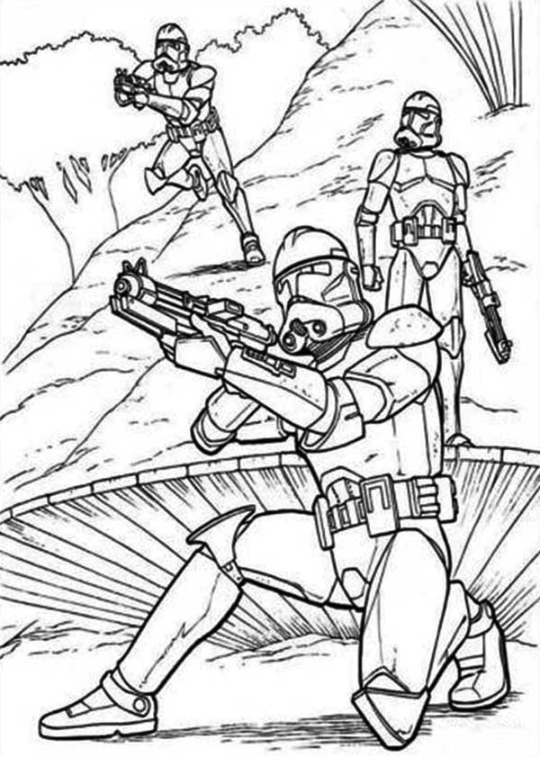 The Clone Troopers Standby In Star Wars Coloring Page ...