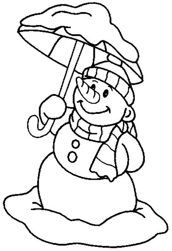Mr Snowman on Christmas with Umbrella Coloring Page ...
