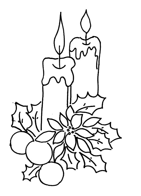 Christmas Candle Decorated With Flower And Leaves Coloring ...
